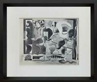 "Le CORBUSIER Lithograph SIGNED ""Composition with Three Figures"" 1923 w/Frame"