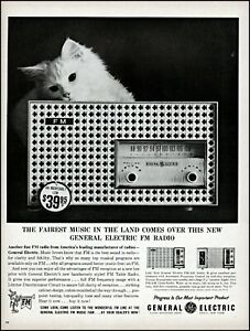 1961 white cat General electric fm radio music vintage photo Print Ad adL65