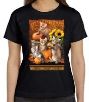 Autumn Kittens Shirt - Cats and Pumpkins, Fall Colors, Small - 5X