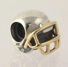 Nuevo casco de fútbol Pandora Charm-Plata Esterlina Grano de Oro Amarillo 14k 790570