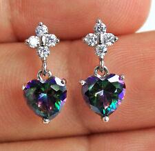 18K White Gold Filled - 7MM Heart MYSTICAL Rainbow Topaz Wedding Women Earrings