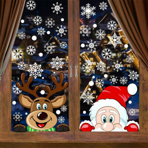 Christmas Snowflake Reindeer Santa Claus Window Cling Static Stickers Holiday De
