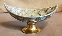 """7""""--Vintage Hand-painted Delft Delftware Brass Pedestal Turquoise Candy Dish"""