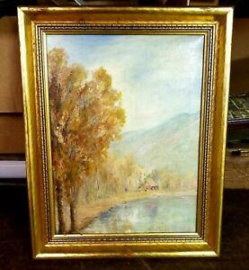 Nice Vintage Pennsylvania Impressionist Landscape Stream/Cottage Walter E. Baum