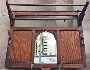 Antique Arts Crafts Deco Wall Mirror Figural Hooks 3 Brass Rods Oak Rack Shelf
