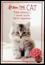 Tabby Kitten Cat Yarn From The Cat Purr-sonally - Meowy Christmas Greeting Card