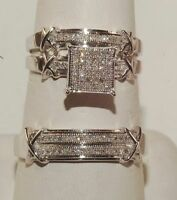 diamond 2.50ct princes 14k white gold over trio ring set engagement wedding band