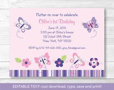 Pink Purple Butterfly Garden Printable Birthday Invitation Editable PDF