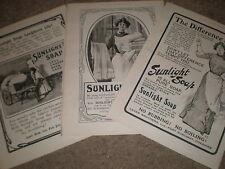 3 Sunlight soap art adverts 1903 prints ref X