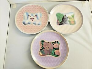 Lynn Hollyn's Town and Country Collection 3 Cat Dessert Plates Toscany Japan