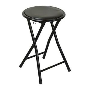 Round Folding Padded Stool. Office Kitchen Breakfast Stools Metal Frame Black