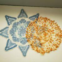 Handmade Crochet Doilies Vintage Lot of 2 Blue White Orange Striped Round Linens