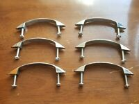 6 Vintage Mid Century Modern MCM Chrome Cabinet Drawer Pulls With Screws