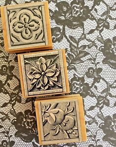 Poetic Nature Prints Graphic Etching Wood Mount Rubber Stamps Pomegranate Floral
