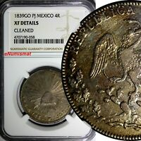 Mexico FIRST REPUBLIC Silver 1839 GO PJ 4 Reales NGC XF DETAILS SCARCE KM# 375.4