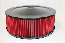 "14"" X 5"" Round Black Washable Red Air Cleaner Assembly Flat Base SBC 350 BBC 454"