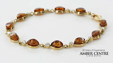 ITALIAN MADE BALTIC AMBER BRACELET IN 9CT GOLD -GBR083 RRP£495!!!