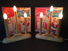 Vintage GE SAFE-T-GLO 3 Light Candolier Window Christmas Lights -  Set of Two