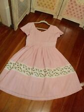 revival buds of may pink gingham embroidered dress 12 NWot