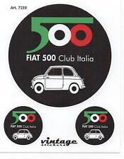 TRIS STICKERS ADESIVI LOGO STEMMA BADGE D'EPOCA VINTAGE FIAT CLUB 500
