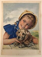 Peinture Gouache Originale Portrait YVETTE BAUDRY Publicité Calendrier YVB2