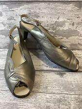 SUNSTEPS Metallic Silver Bronze Gold Leather Peeptoe Slingback Sandals Size 6