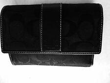 Black Leather Coach Print Wallet
