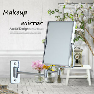 Bathroom Extendable Folding Make Up  Mirror 1x 3x magnify Sided Wall Mount