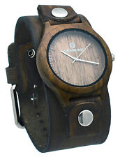 Nemesis NFBB260B Men's Brown Natural Wood Case Wide Leather Cuff Band Watch