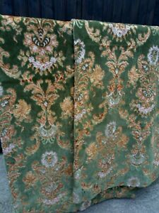"""Vintage Country Heavy Flocked Velvet Green Floral Pair Curtain Panels 48""""x48"""""""