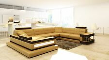 VIG Brown and Camel LEATHER Contemporary Sectional 5079 VIG, Living Room