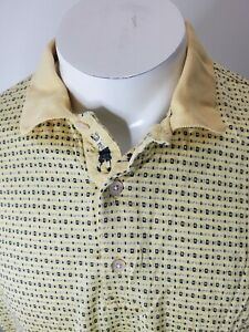 Bobby Jones Collection Mens Golf Polo Shirt Yellow Geometric Short Sleeve Large