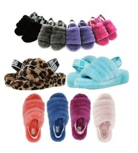 UGG Soft Fluff Yeah Slide Slippers Women's Shoes Sandal Black Blue Pink Leopard