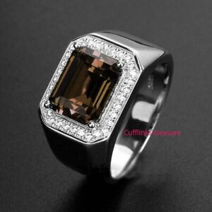 Natural Smoky Quartz & CZ Gemstones With 925 Sterling Silver Ring For Men's