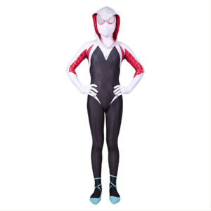Spider-Man: Into the Spider Costume Gwen Stacy Kids Jumpsuit Cosplay Halloween