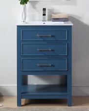 "24"" Tennant Brand Aruzza Small Slim Narrow Teal Blue Bathroom Vanity 2822-V24Tb"