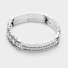 Amazing Grace Prayer Bracelet Stretch Bangle ANTQ SLVR Blessing Sweet Lost Found