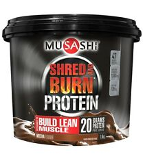 MUSASHI SHRED AND BURN 1.6KG MOCHA FLAVOUR PROTEIN POWDER WEIGHT LOSS SHAKE