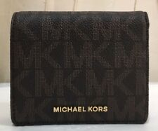 NWT $88 Michael Kors MK Logo Jet Set Carryall Card Case Bill Snap Wallet BROWN