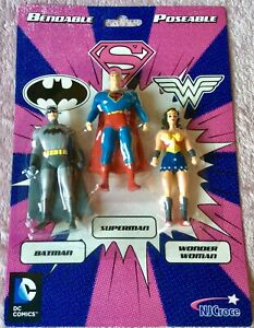 DC Comics Batman, Superman & Wonder Woman Bendy Figure Set