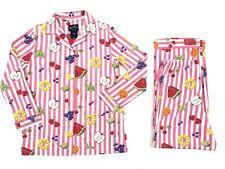 Nick & Nora Pajamas Pink Stripes with Fruits Watermelon, Grape, Cherry, Size S