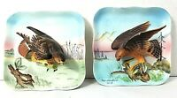 2 Vtg Napco Ceramic Japan 3D Painted FALCON HAWK CHIP Birds Wall Hanging Plaque