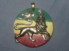 Gold Lion Ofjudah Pendant Charm Necklace Rasta Reggae Jamaica Africa Flag Brass
