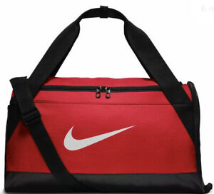 Nike Brasilia Training Duffel Bag Gym Sports Holdall Football Kit New Red 40L
