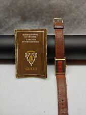 Vintage Men's 1980s Gucci Signature Tri-Stripe Gold Bezel Watch With Booklet