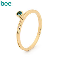 New Classic Stackable Fun Ring With Blue Topaz 9ct 9k Solid Yellow Gold Ring