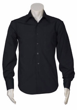 Mens Business Shirt Black Size Small Long Sleeve Button Up & Collared Pack of 3
