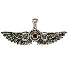 Winged Sun Disk Thebes Sterling Silver Garnet Egyptian Kemetic Pendant Jewelry