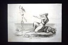 Incisione d'allegoria e satira Fortuna abbandona la repubblica Don Pirlone 1851