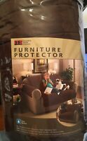 "ITS FURNITURE PROTECTOR brown Sofa Couch Microfiber Pets 110"" X 75.5"" NEW NWT"